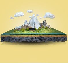 - Mammoth Falls by Aldo Pulella, via Behance Boat Illustration, Polygon Art, 3d Artwork, Dado, Simple Art, Low Poly, Graphic Design Art, Art Direction, Game Art