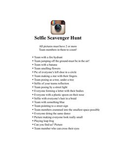 Made this selfie scavenger hunt for my daughters Birthday slumber party. Th… Made this selfie scavenger hunt for my daughters Birthday slumber party. The girls loved it, and loved having all those pictures on their phones as memories. 13th Birthday Parties, Birthday Party For Teens, 14th Birthday, Birthday Party Games, 18th Birthday Ideas For Girls, Sixteenth Birthday, Fun Sleepover Ideas, Sleepover Games, Sleepover Party