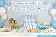 Baby shower party: decorating ideas and gifts in 55 photos! baby shower idea for the menu with sweet Baby Shower Party Deko, Décoration Baby Shower, Decoracion Baby Shower Niña, Fotos Baby Shower, Babyshower Party, Baby Shower Sweets, Baby Shower Gift Bags, Baby Shower Cakes For Boys, Baby Shower Photos