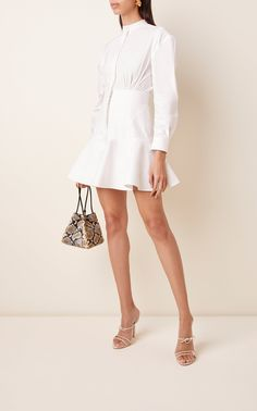 Acler's 'Lewis' shirtdress isn't your typical iteration. It features a structured button-down bodice that cinches the waist and a flounce hemline that accentuates your legs. For a feminine day look, team with gold hoops and an oversized raffia tote. Cute Casual Outfits, Chic Outfits, Girl Outfits, Fashion Outfits, Denim Jacket With Dress, Mini Shirt Dress, White Shirts Women, Little White Dresses, Haute Couture Fashion