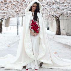 Wunderschöne Winter Hochzeit Jacke Lange Weiß Umhang-Wraps Benutzerdefinierte