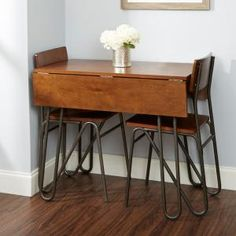 Silverwood Henry Wood and Metal Drop Leaf Table with Hairpin Legs, Brown Dining Table Small Space, Space Saving Table, Grey Dining Tables, Small Kitchen Tables, Metal Dining Table, Dining Table In Kitchen, Desk Space, Table Desk, Small Table Ideas