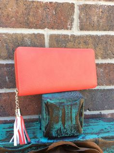 Coral Zip Wallet with Tassel - WAL198CO