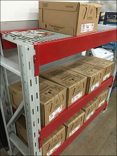 Pallet Rack Short Cut Gets Powdercoat Anyway – Fixtures Close Up Pallet Racking, Metal Shelves, Powder Coating, Short Cuts, Stool, Safety, Shelf, Retail, Storage