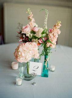 Centerpiece inspirations peaches and creme coral wedding