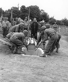 Funeral of Gen. Theodore Roosevelt Jr. in Sainte-Mère-Église on July 13, 1944.