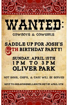 Customised cowboy invitation Patricks Rootin Tootin Cowboy 2nd