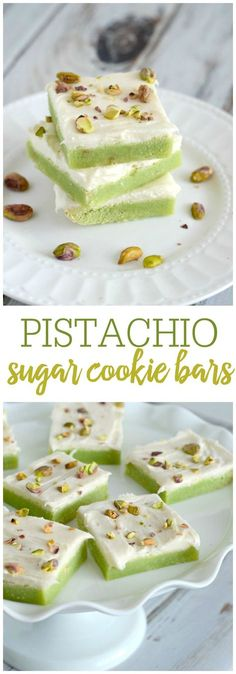 Soft and chewy pistachio sugar cookie bars with cream cheese frosting. These bars are easy to make, and taste simply amazing! Soft and chewy Pistachio Sugar Cookie Bars with cream cheese frosting. An easy treat that everyone will love! Sugar Cookie Bars, Cookie Desserts, Just Desserts, Cookie Recipes, Delicious Desserts, Dessert Recipes, Yummy Food, Cookie Favors, Bar Recipes