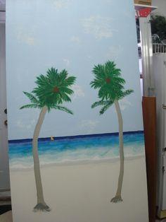 Peinture acrylique vernis murale sur planche pour dessus balcon qui cache et insonorise la thermopompe a coté du spas