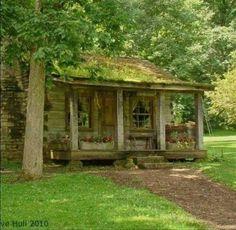 Log Cabin w/ Stone Chimney