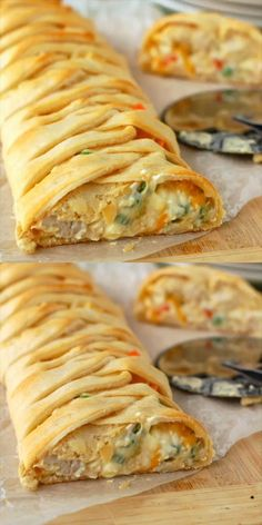 Pot Pie Crescent Braid This delicious and easy dinner is the perfect solution on a busy weeknight. So fast and so delicious!This delicious and easy dinner is the perfect solution on a busy weeknight. So fast and so delicious! Chicken Pasta Recipes, Seafood Recipes, Chicken Pie Recipe Easy, Homemade Chicken Pot Pie, Seafood Appetizers, Appetizer Recipes, Pie Recipes, Cooking Recipes, Puff Pastry Recipes