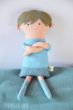 handmade boy rag doll guy cotton soft toy by pandoracreazioni