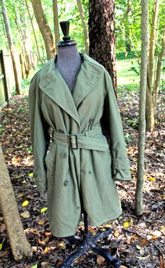 40s WWII belted olive trench coat w/ removable liner