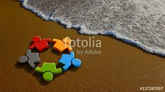 """Download the royalty-free photo """"Children Group at the Beach. 3D Rendering Illustration"""" created by Fotolia365 at the lowest price on Fotolia.com. Browse our cheap image bank online to find the perfect stock photo for your marketing projects!"""