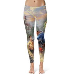 Beauty and the Beast Disney Painting Princess Belle Leggings in Xs-3xl... ($28) ❤ liked on Polyvore featuring activewear, activewear pants, leggings, disney, silver, women's clothing и sports activewear
