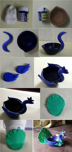 peacock  diya by using clay and acrylic color