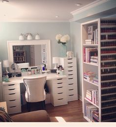 The Chic Technique: CLICK TO SEE MORE Beauty Room Designs On Our BLOG for #makeup organization and #beautyroom décor.
