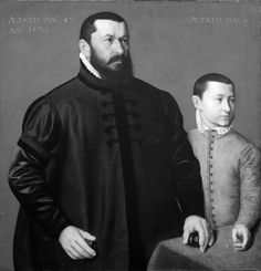 Nicolas Neufchâtel,   Portrait of the Nuremberg Goldsmith Hans Lencker (1523-1585) and his 9-year old son Elisius the Younger. 1570