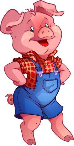 Happy Cartoon Pig Chef Standing Beside Smoking Bbq Rib