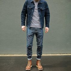 with a rugged double denim combo with a denim jacket striped t shirt with selvedge denim and red wing boots Red Wing Boots, Bottes Red Wing, Jean Jacket Outfits, Denim Jacket Men, Denim Outfit, Men's Denim Jackets, Denim Men, Man Jacket, Warm Jackets