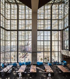 The floor-to-ceiling windows in San Diego's Central Library provide the library with a source of light as well as a great view of the city.