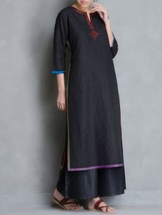 Black-Multi Color Embroidery Detail Cotton Linen Kurta by Kora