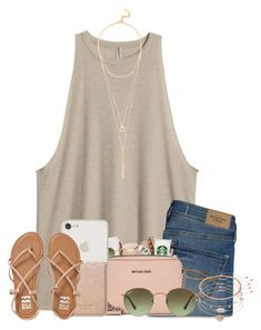 """""""Untitled #45"""" by anna-morris1 ❤ liked on Polyvore featuring H&M, Abercrombie & Fitch, Kate Spade, Billabong, Mudd, Ray-Ban and BaubleBar"""