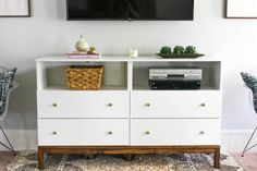 This IKEA Dresser to TV Stand Transformation combines storage of a dresser with . This IKEA Dresser to TV Stand Transformation combines storage of a dresser with the visual appeal of a tv console. This is a great and easy IKEA hack! Tv Stand Ikea Hack, Ikea Diy, Ikea Lack Side Table, Ikea Dresser, Ikea Lack Table, Dresser With Tv, Ikea Storage, Bedroom Tv Stand, Dresser Tv Stand