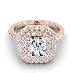 Radiant Cut Diamond Double Halo Engagement Ring In Rose Gold Ct. Radiant Cut Engagement Rings, Double Halo Engagement Ring, Morganite Engagement, Perfect Engagement Ring, Rose Gold Engagement Ring, Radiant Cut Diamond, Halo Rings, Silver Diamonds, Bracelet Watch