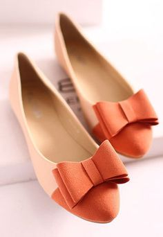 Fashion Comfortable Bowknot Contrast Color Spliced Slip On Flat Shoes