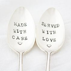 Made With Care, Served With Love. Hand stamped serving spoon set for Holiday table decor. READY TO SHIP Stamped silverware by Milk & Honey