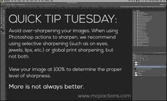 Quick Tip Tuesday: Print Sharpen in Photoshop, Elements, or Lightroom  TIPS FOR SHARPENING for all 3 top editing software by Adobe! :)