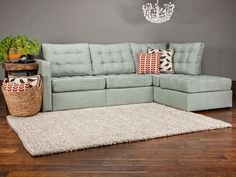 5 Series Four Cushion Chaise Sectional with Tufted Robinegg Tweed Covers