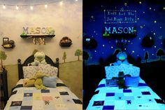 Glow in the dark paint and highlighters transforms this room with black lights