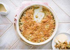 Raparperipiirakka karamellisoituneella, rapealla taikinakuorella Hummus, Baking Recipes, Macaroni And Cheese, Ethnic Recipes, Desserts, Food, Cooking Recipes, Tailgate Desserts, Mac And Cheese