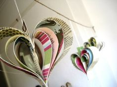 Paper garland, heart garland, upcycled books, Shakespeare, pastels ~ bookity @ etsy  ~ must have a go at something similar to this