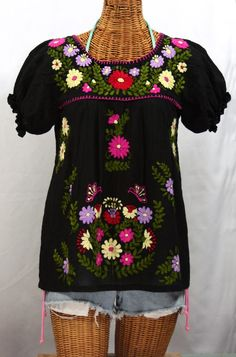 http://www.sirensirensiren.com/shop/new!-embroidered-peasant-tops/mexican-blouse-puff-sleeve-mariposa-color/embroidered-mexican-style-peasant-top-mariposa-color-black #sirenbrand #mexicandress #mexicanblouse #bohemian #hippie #peasant #summerfashion #sirensurf
