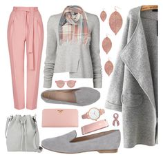 """""""Pink and Grey"""" by elisapar ❤ liked on Polyvore featuring Humble Chic, Topshop, Proenza Schouler, SANTA CLARA Milano, Prada, Oasis and Le Specs"""