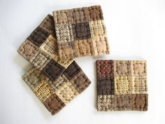 Quilted Coasters Mug Mats Fabric Coasters Brown and Neutral Rustic Country Decor Farmhouse Decor Kitchen Housewares Primitives Country Decor via Etsy