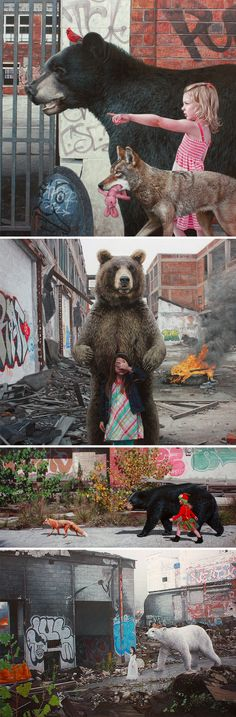Hyperrealistic Paintings of Children and Animals Exploring Urban Remains by Kevin Peterson