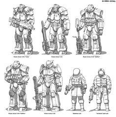Fallout 4 Concept Art, Fallout Fan Art, Star Wars Concept Art, Fallout 4 Power Armor, Fallout Comics, Fallout Funny, Fallout Brotherhood Of Steel, Fallout 4 Settlement Ideas, Armor Games