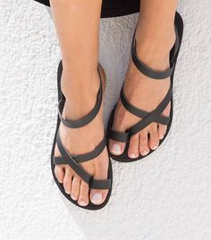 MODEL ★KLEIO★ ☼Picture color Black☼ Stunning 3 soft leather straps sandals embrace your foot and give you an amazing look. Α true jewellery for your feet, yet very comfortable! Items details: All leather sandals are made from superior leather combined with a recyclable rubber