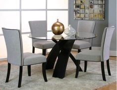 Sumner 5 Piece Dinette (Table with 4 Side Chairs) - Bernie & Phyl's Furniture - by Cramco 4 Chair Dining Table, Office Table And Chairs, Round Table And Chairs, Dining Room Table Centerpieces, Glass Round Dining Table, Dinning Room Tables, Round Glass, Side Chairs, Table Legs