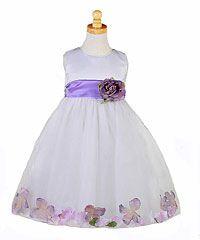 Flower Girl Dresses  -Flower Girl Dress Style 596- White with Purple Petal Dress