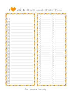 {FREE} printable universal lists