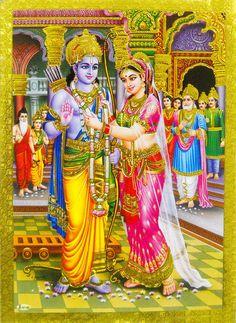 "Rama Sita Swayamvar Hindu God Poster Golden Foil Rare Picture 5"" X 7"" (#145) picclick.com"