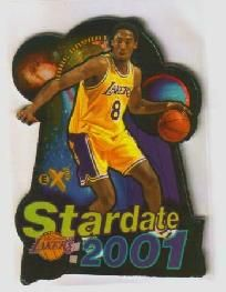 $14.99 - KOBE BRYANT 1997-98 EX 2001 STARDATE 2001 #3 of 15 LAKERS DIE-CUT INSERT *FREE SHIPPING!*  Hard to find insert card for the Los Angeles Lakers superstar and future Hall of Famer!  FREE SHIPPING!