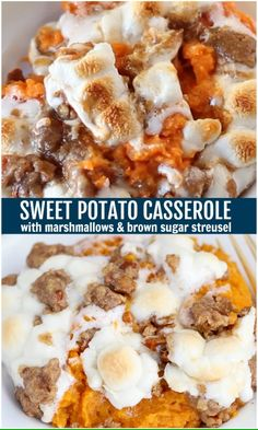 This popular Sweet Potato Casserole is always a hit! Mashed sweet potatoes topped with toasted marshmallows & streusel. This popular Sweet Potato Casserole is always a hit! Mashed sweet potatoes topped with toasted marshmallows & streusel. Best Sweet Potato Casserole, Sweet Potato Souffle, Loaded Sweet Potato, Sweet Potato Pecan, Mashed Sweet Potatoes, Bean Casserole, Sweet Potato Mash, Sweet Potato Caserole, Recipes With Sweet Potatoes