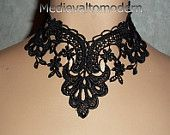 Medievaltomodern Vintage inspired Venise lace Victorian Choker in Midnight