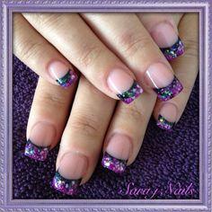 Mixed up purple and black acrylic nails